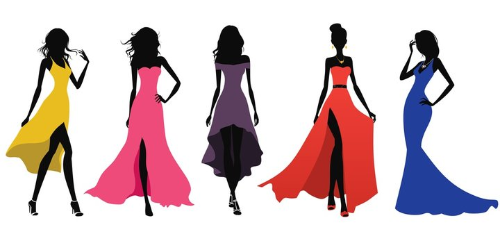 Set of womens dresses. Women silhouettes