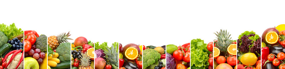 Wall Mural - Panorama fruits and vegetables isolated on white background.