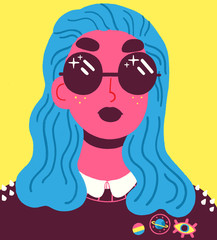 Portrait of young woman with cool sunglasses