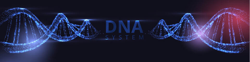 Abstract banner with luminous DNA molecule, neon helix on black background.