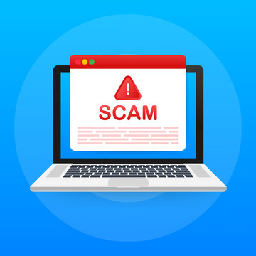 Scam alert. Hacker attack and web security vector concept, phishing scam. Network and internet security. Vector illustration.