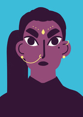 Graphic portrait of indian woman with blue background