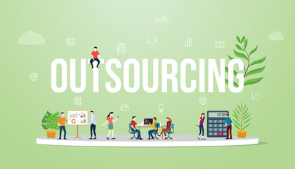 outsourcing business concept big text with people team work working with modern green color - vector