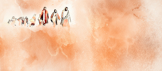 Jesus and the disciples. Christian watercolor background Fototapete