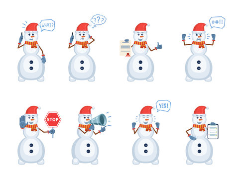 Set of Christmas snowman characters posing in different situations. Cheerful snowman talking on phone, thinking, surprised, angry, holding stop sign, loudspeaker, document. Flat vector illustration