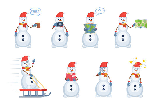 Set of snowman characters posing in different situations. Cheerful snowman holding mug of beer, photo camera, map, magnifying glass, reading a book, riding sleigh. Flat style vector illustration