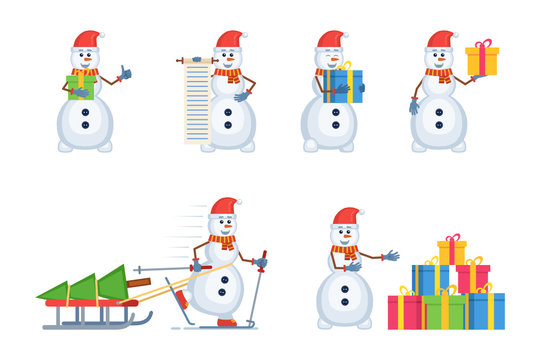 Set of Christmas snowman characters posing in different situations. Cheerful snowman holding gift box, scroll, carrying Christmas tree, pointing to presents. Flat style vector illustration