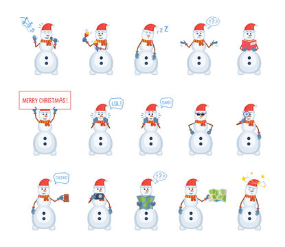 Set of snowman characters showing different actions. Cheerful snowman karaoke singing, dancing, sleeping, holding Christmas banner, reading a book and doing other actions. Flat vector illustration