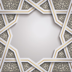 Islamic background design with geometric morocco pattern illustration