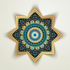 Arabic floral and morocco geometric pattern