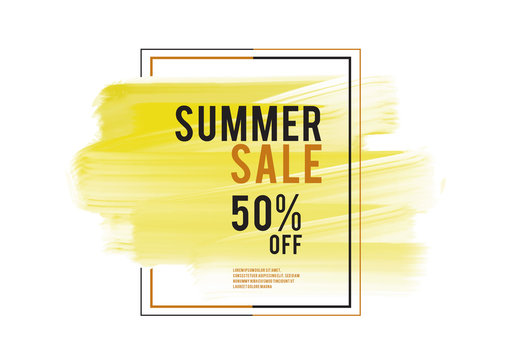 Summer Sale banner, yellow watercolor art brush stroke with frame, Grunge circle, icon design, Hand drawn design elements, vector brush strokes