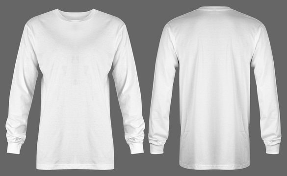 Blank white t shirt long sleeve isolated on grey background. ready for your mock up design or presentation your project