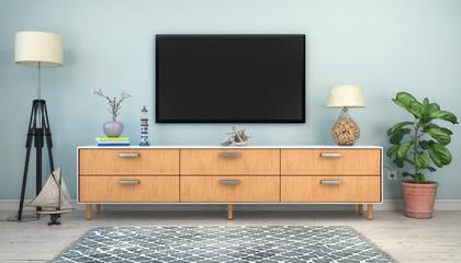 3d Illustration - Skandinavisches, nordisches Wohnzimmer mit einem Sideboard und Flatscreen - Textfreiraum - Platzhalter
