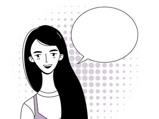 A young girl with long black hair is smiling. Comic cloud for dialogue. Retro illustration. Linear drawing in the style of pop art.