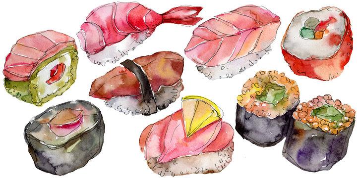 Watercolor sushi set of beautiful tasty japanese food illustration. Hand drawn objects isolated on white background.