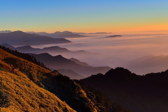 Sunset at mountain Hehuan,Taiwan