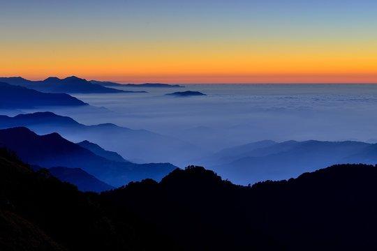 Sunset in  mountain Hehuan,Taiwan