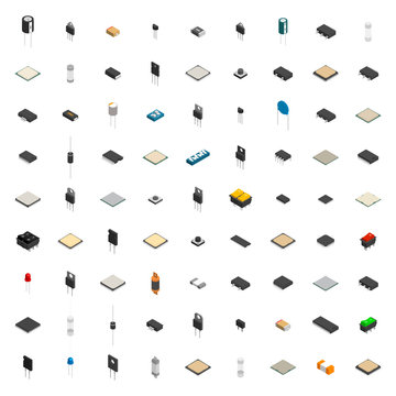 Set of different 3D electronic components , vector illustration.