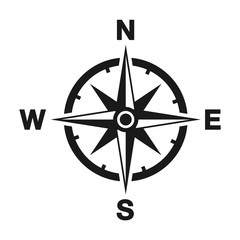 Compass icon in trendy style. Flat icon illustration isolated on white background. Location icon