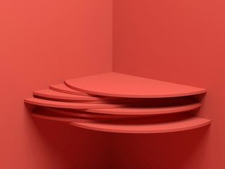 Red cylindrical shelf installation, 3 d