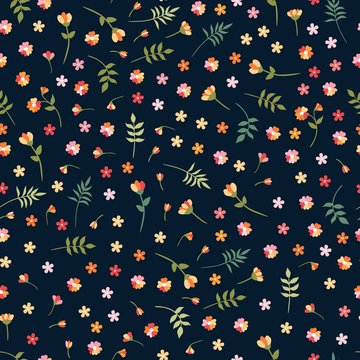 Ditsy seamless floral pattern with colorful wild flowers and leaves on black background. Beautiful vector illustration. Fashion design.