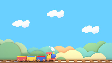 Cartoon toy train, green mountains paper art, white clouds and blue sky. 3d rendering picture.