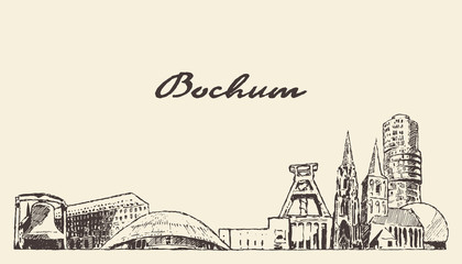 Wall Mural - Bochum skyline big city Germany vector hand drawn