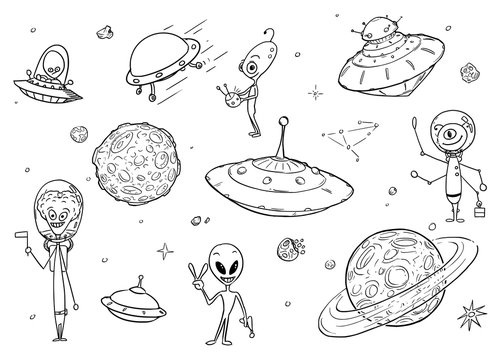 Set of Cartoon Alien Monster Characters , UFO Space Ships and Planets