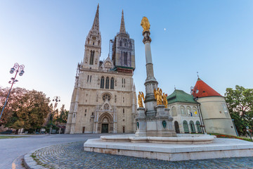 Poster Bridges Zagreb Cathedral at sunrise. Croatia