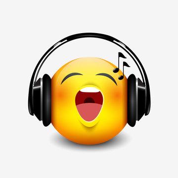 Cute singing emoticon with black headset, emoji