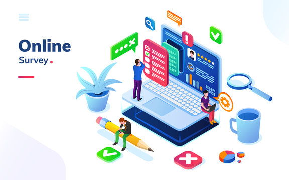 Survey or review, online social feedback or voting, exam at isometric office. People at internet poll or quiz, electronic exam choosing checkbox. Digital service or media rating. Client, customer info