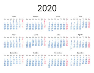 2020 year Spanish calendar in Spanish language. Classical, minimalistic, simple design. White background. Vector Illustration. Week starts from monday.