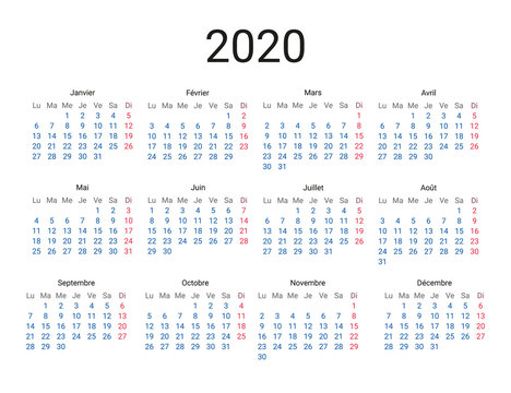2020 year French calendar in French language. Classical, minimalistic, simple design. White background. Vector Illustration. Week starts from monday.