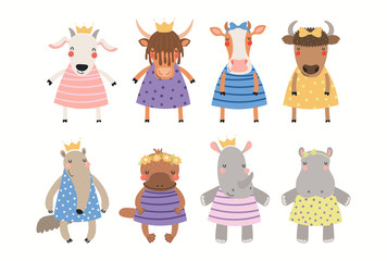 Spoed Fotobehang Illustraties Big set of cute funny animal girls in dresses. Isolated objects on white background. Hand drawn vector illustration. Scandinavian style flat design. Concept for children print.