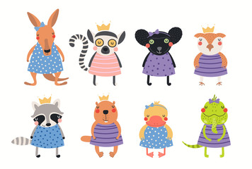 Poster Illustrations Big set of cute funny animal girls in dresses. Isolated objects on white background. Hand drawn vector illustration. Scandinavian style flat design. Concept for children print.