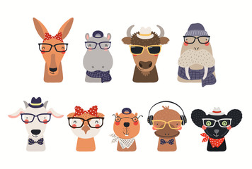 Foto op Canvas Illustraties Big set of cute hipster animals in hats and glasses. Isolated objects on white background. Hand drawn vector illustration. Scandinavian style flat design. Concept for children print.