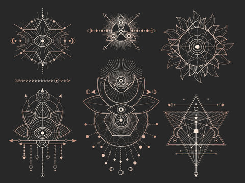 Vector set of Sacred geometric symbols and figures on black background. Gold abstract mystic signs collection.