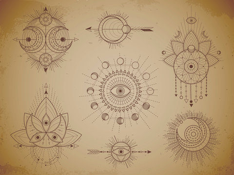 Vector set of Sacred geometric symbols and figures on old paper grunge background. Abstract mystic signs collection.