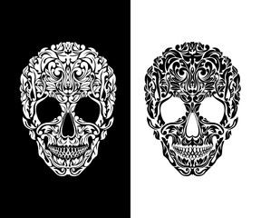Skull of floral shapes. Vector illustration