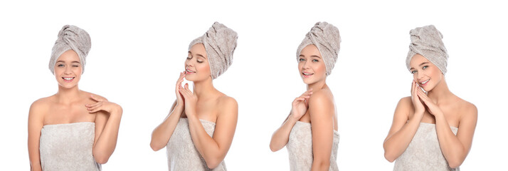 Set of beautiful young woman with towels on white background