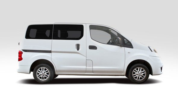 White Japanese mini bus side view isolated on white