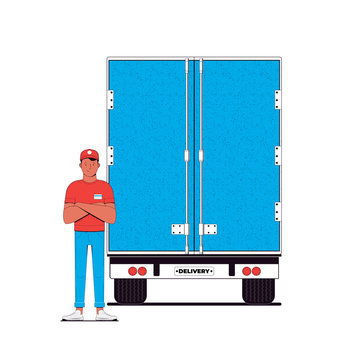 Delivery concept illustration. Courier and delivery truck isolated on a white background. Transportation service. Vector illustration