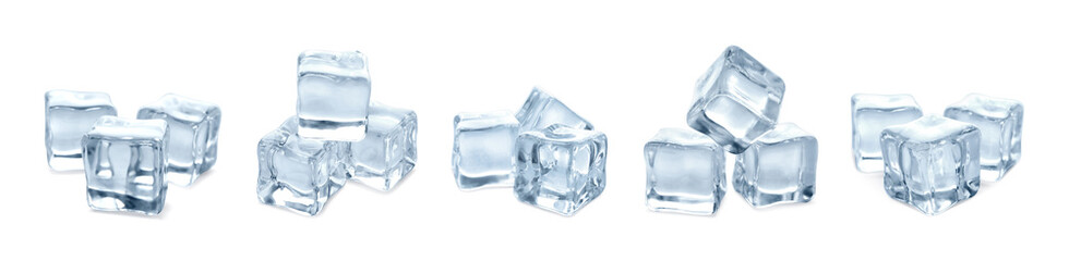 Set of crystal clear ice cubes on white background