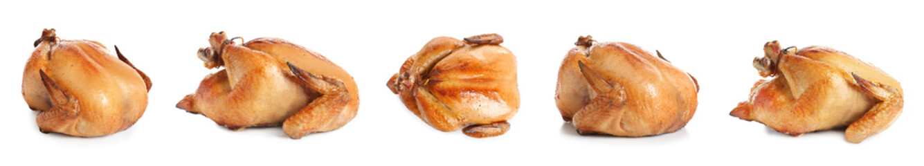 Set of delicious roasted turkey on white background