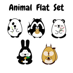 Flat animal stroke icon cute set. Black and white simple style. Cartoon element for design. Panda, bear, squirrel, bunny, raccoon