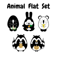 Flat animal stroke icon cute set. Black and white simple style. Cartoon element for design. Mole, rabbit, mouse, raccoon