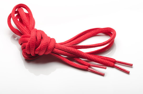 shoelaces or shoestrings on white background