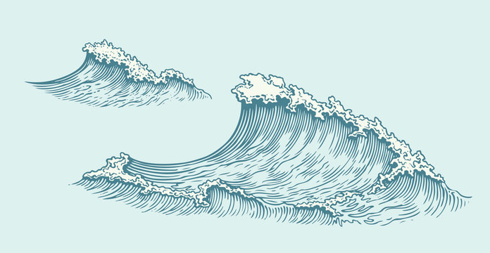 Wave. Hand drawn engraving. Editable vector vintage illustration. Isolated on light background. 8 EPS