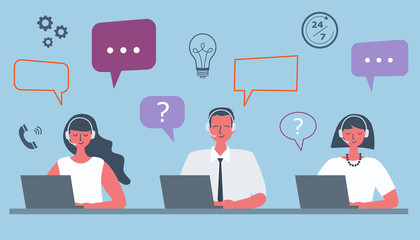 Web banner of call center workers. Support service icons. Young man and women in headphones are sitting at the desk on a blue background. People icons. Funky flat style. Vector illustration.