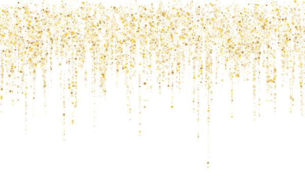 Garland border gold glitter vector background illustration.
